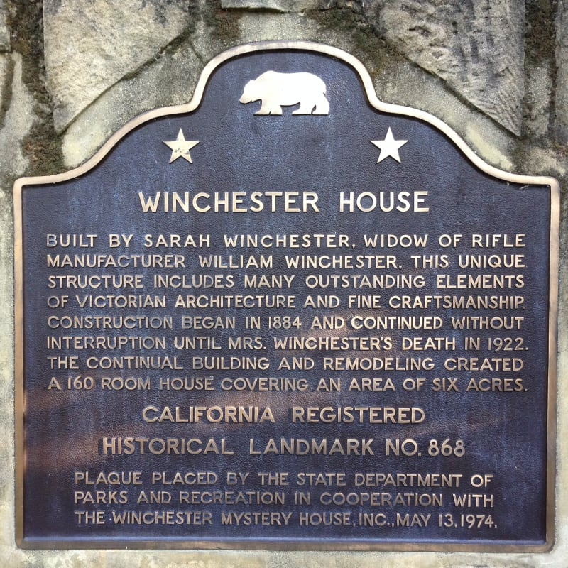 NO. 868 WINCHESTER HOUSE - State Plaque