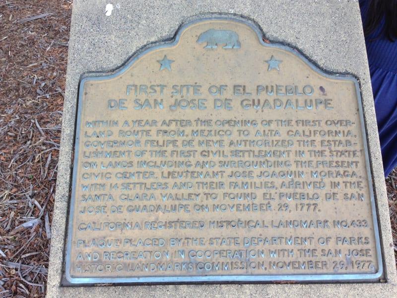 NO. 433 FIRST SITE OF EL PUEBLO DE SAN JOSÉ DE GUADALUPE - State Plaque