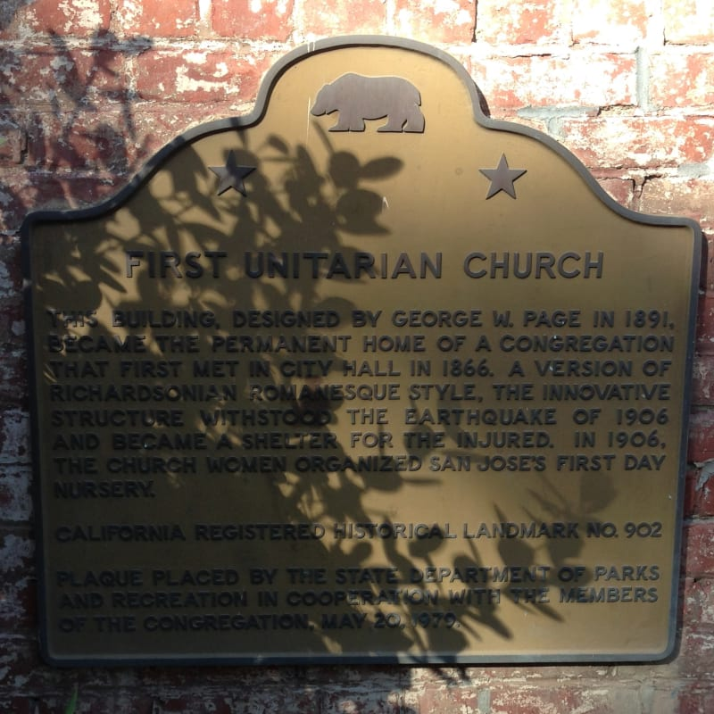 NO. 902 FIRST UNITARIAN CHURCH OF SAN JOSE - State Plaque