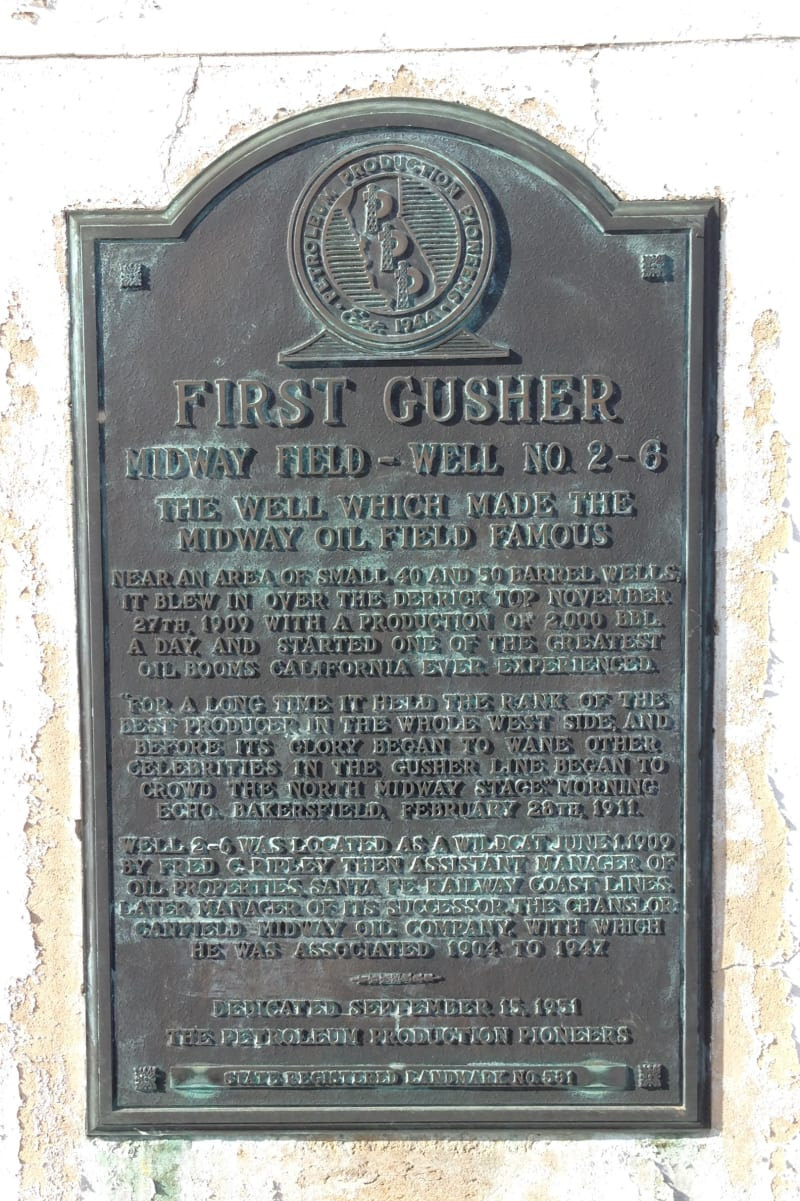 NO. 581 WELL, 2-6 - Midway Gusher Plaque