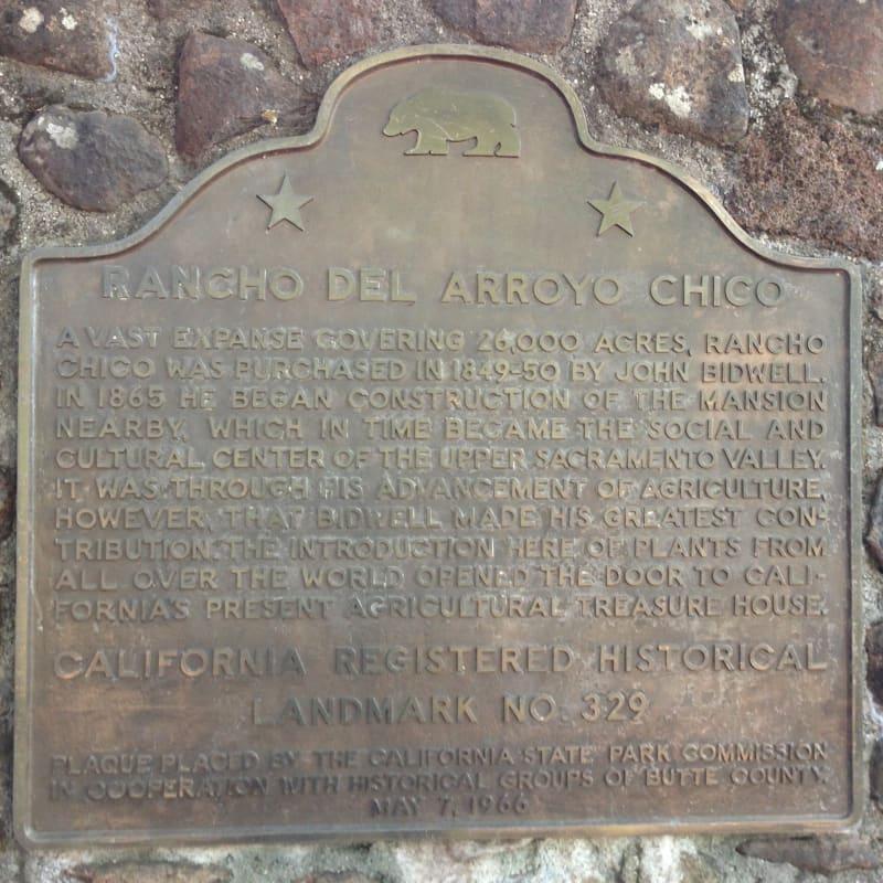 NO. 329 RANCHO CHICO AND BIDWELL ADOBE - State Plaque