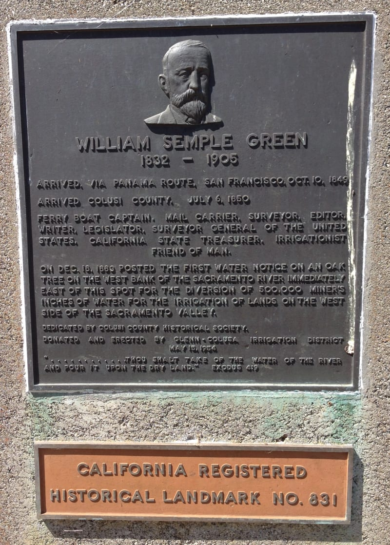 NO. 831 SITE OF FIRST POSTED WATER NOTICE BY WILL S. GREEN - Private Plaque