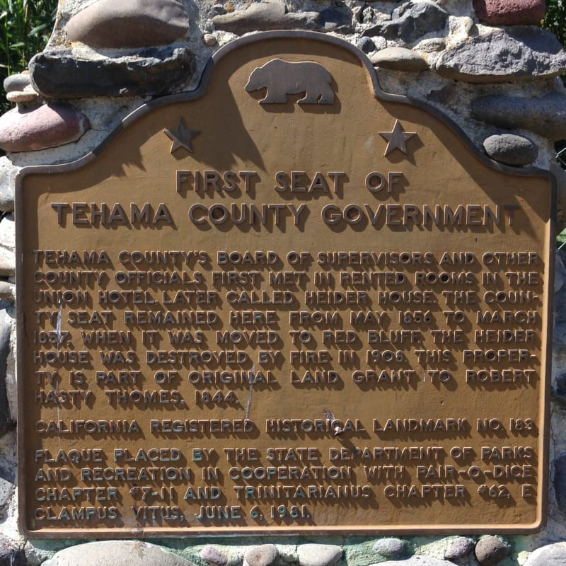 NO. 183 FIRST TEHAMA COUNTY COURTHOUSE - State Plaque
