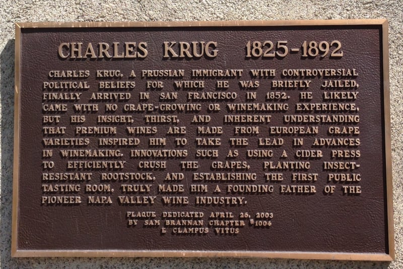 NO. 563 CHARLES KRUG WINERY - Private Plaque