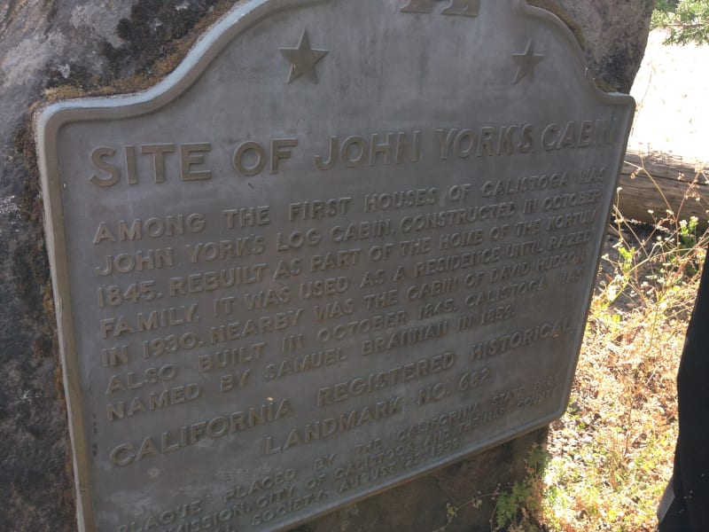 NO. 682 SITE OF YORK'S CABIN, CALISTOGA - State Plaque