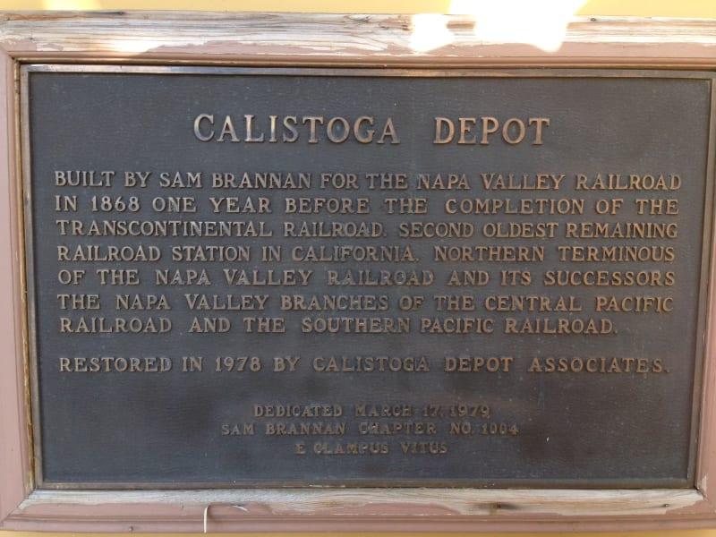 NO. 687 NAPA VALLEY RAILROAD DEPOT, CALISTOGA - Plaque