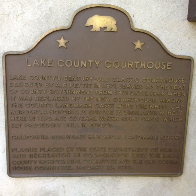 NO. 897 OLD LAKE COUNTY COURTHOUSE - State Plaque