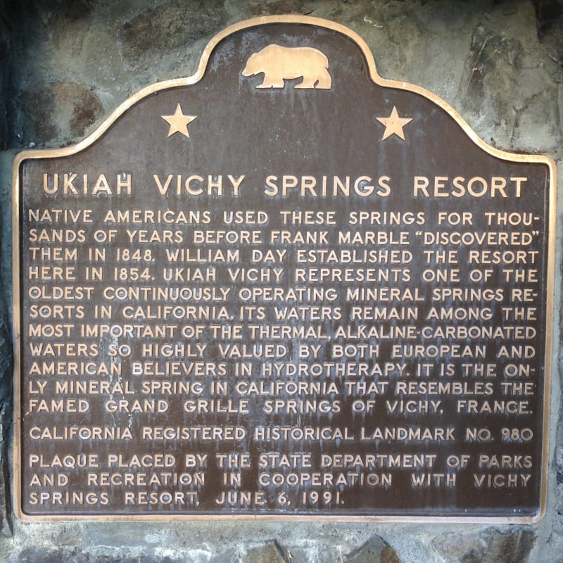 NO. 980 UKIAH VICHY SPRINGS RESORT - State Plaque
