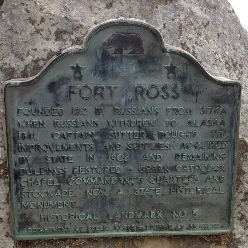 NO. 5 FORT ROSS - State Plaque
