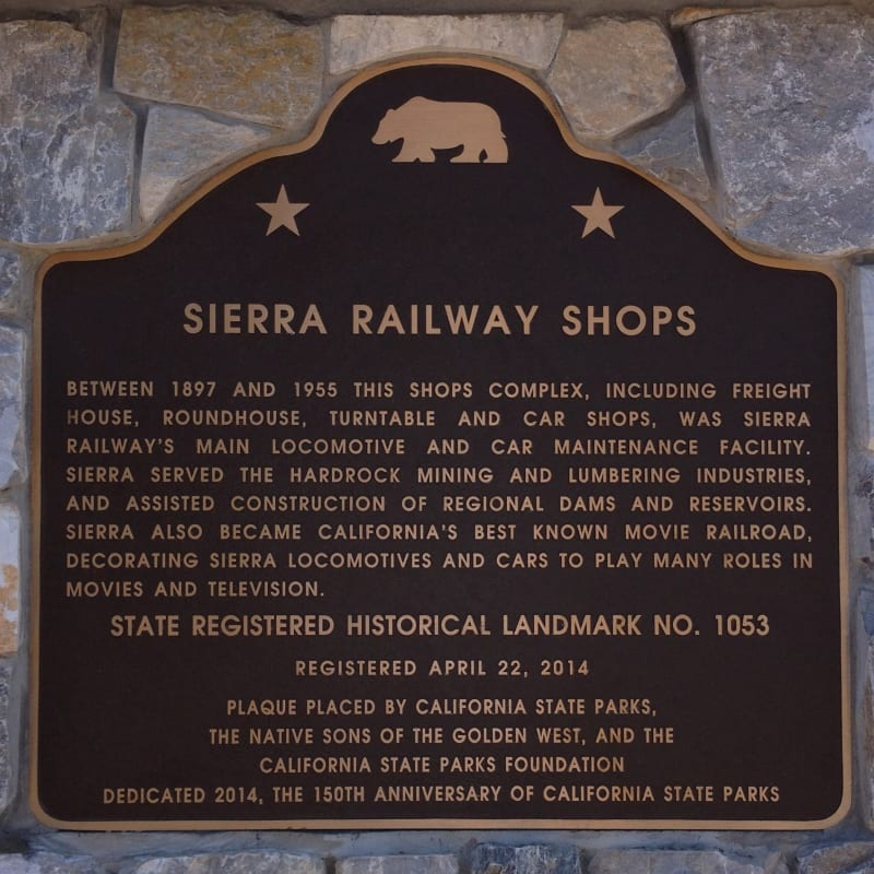 No. 1053 Sierra Railway Shops - Plaque