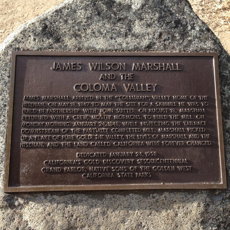 NO. 748 COLOMA ROAD-COLOMA - James Marshall/Coloma Valley Plaque