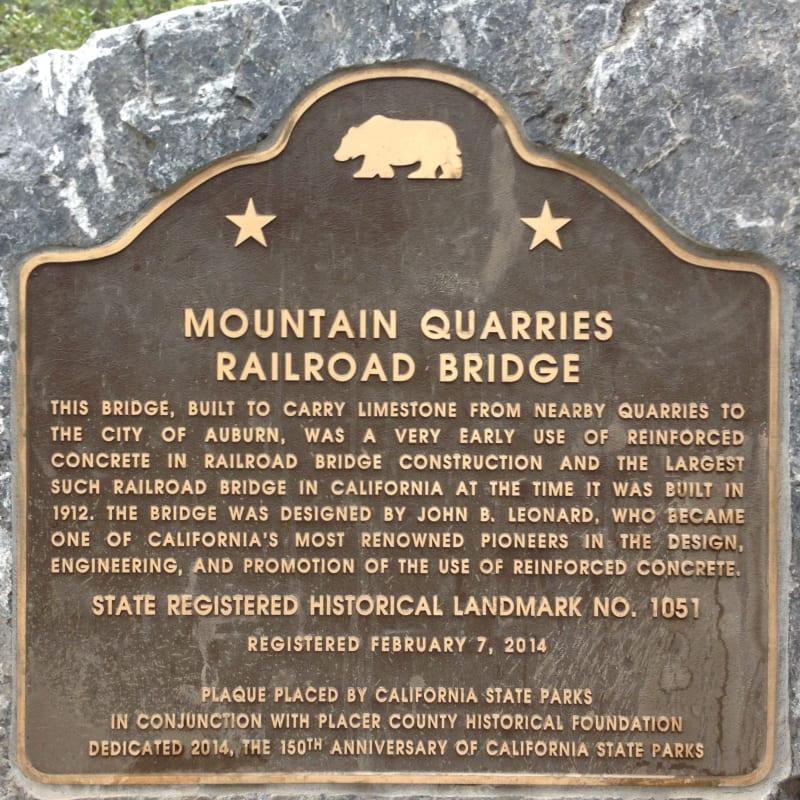 No. 1051 Mountain Quarries Railroad Bridge - State plaque (ElDorado)