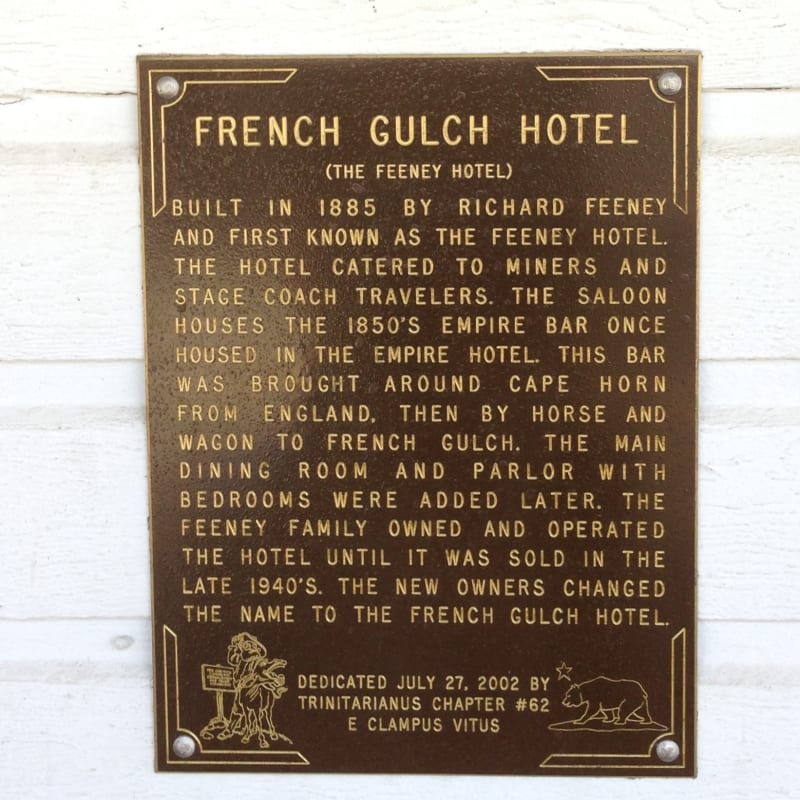 NO. 166 FRENCH GULCH - Hotel Plaque
