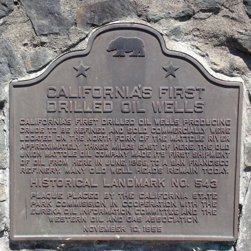 NO. 543 CALIFORNIA'S FIRST DRILLED OIL WELLS - State Plaque