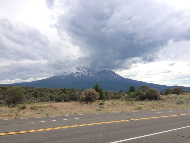 NO. 517 EMIGRANT TRAIL CROSSING OF PRESENT HIGHWAY - Mt. Shasta