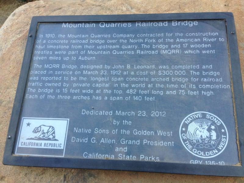 No. 1051 Mountain Quarries Railroad Bridge - Plaque at trailhead (Placer)