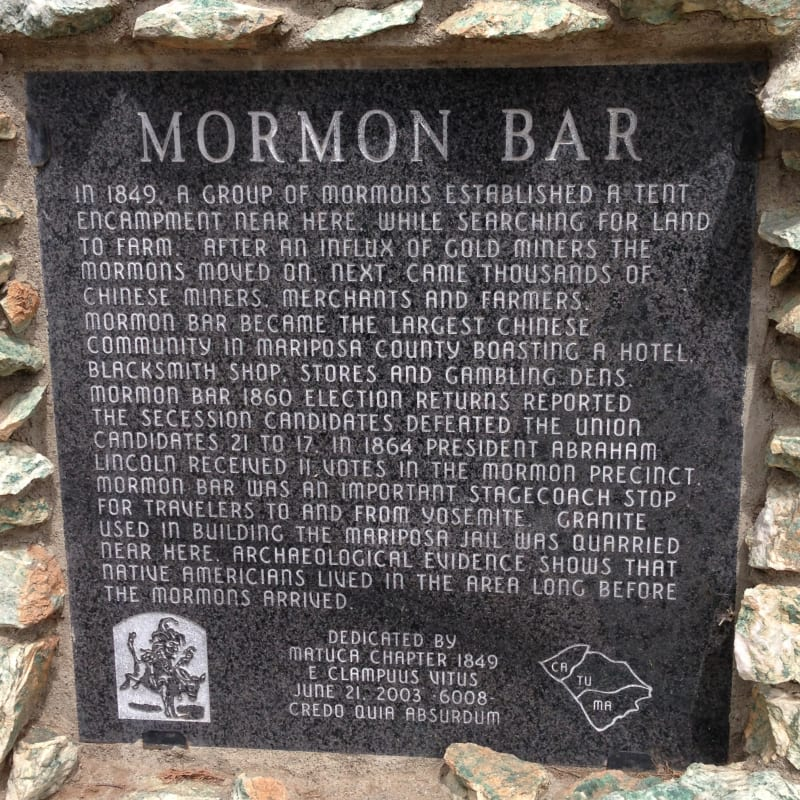 NO. 323 MORMON BAR Plaque