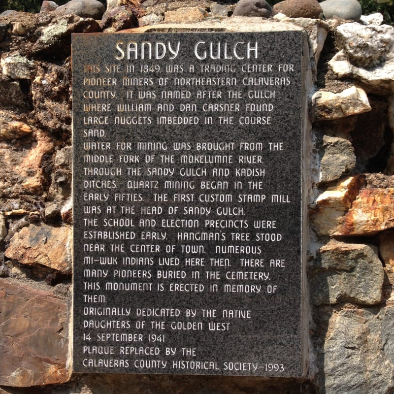 NO. 253 SANDY GULCH - Private Plaque