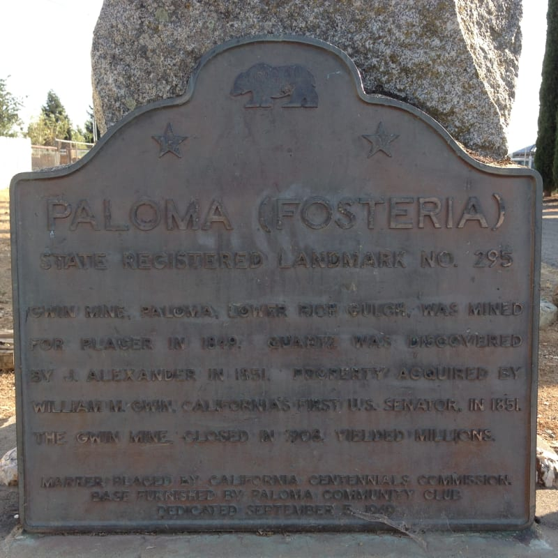 NO. 295 PALOMA - State  Plaque