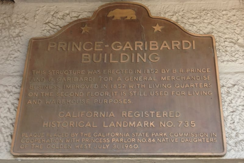 NO. 735 PRINCE-GARIBARDI BUILDING - State Plaque