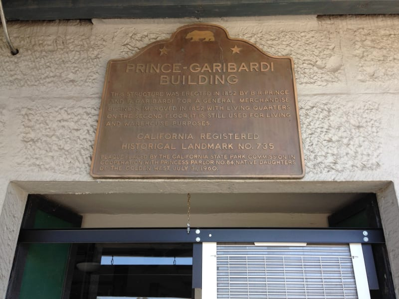 NO. 735 PRINCE-GARIBARDI BUILDING - State Plaque above front door