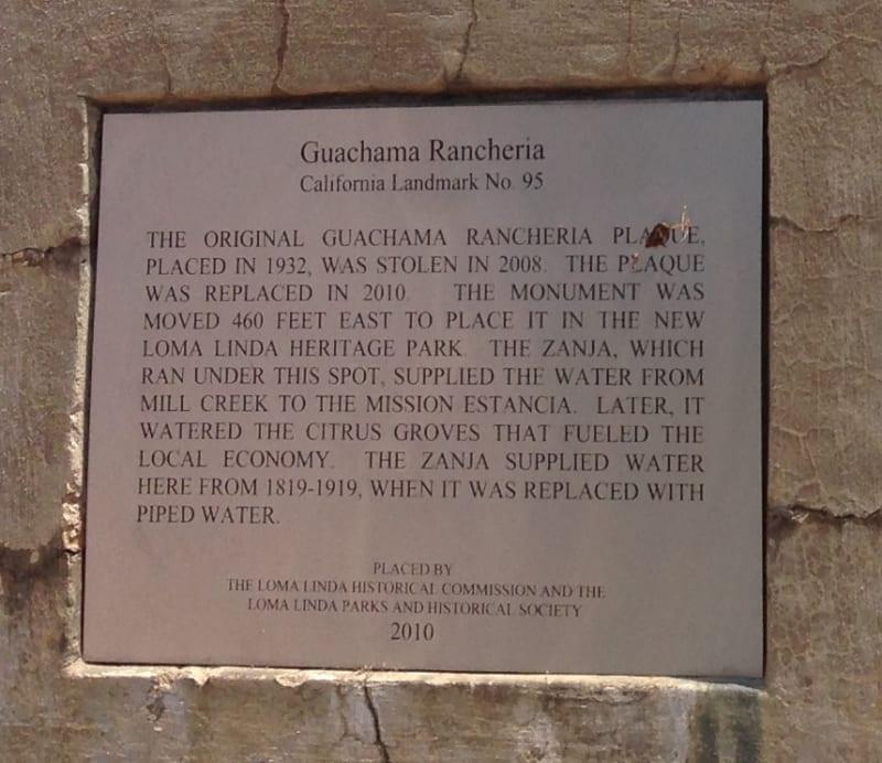 NO. 95 GUACHAMA RANCHERIA - Plaque