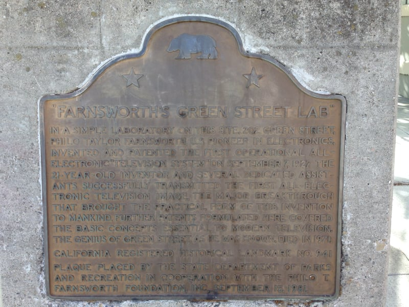 NO. 941 FARNSWORTH'S GREEN STREET LAB - State Plaque