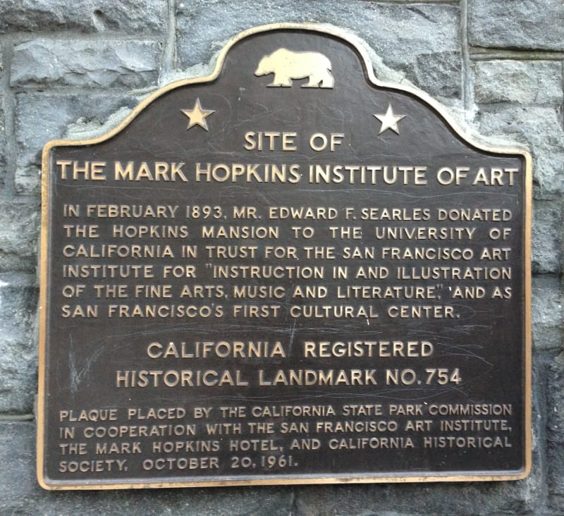 NO. 754 SITE OF THE MARK HOPKINS INSTITUTE OF ART - State Plaque