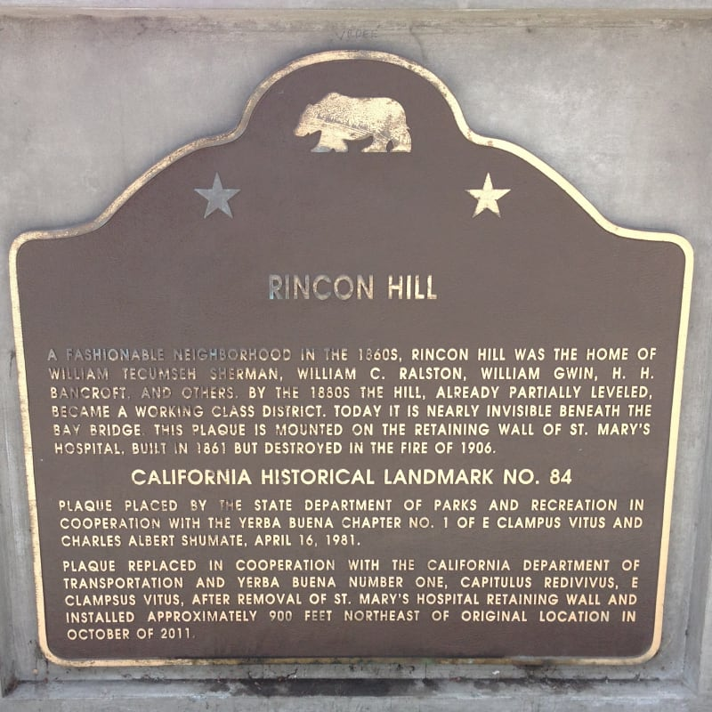 NO. 84  RINCON HILL - State Plaque