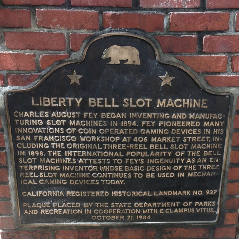 NO. 937 SITE OF INVENTION OF THE THREE-REEL BELL SLOT MACHINE - State Plaque