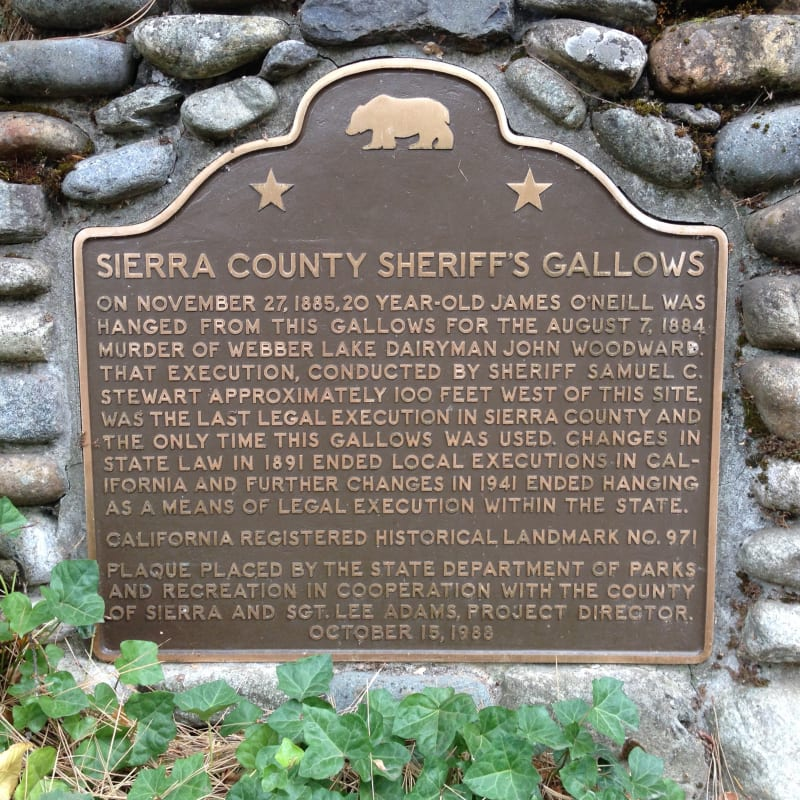 NO. 971 SIERRA COUNTY SHERIFF'S GALLOWS - State plaque