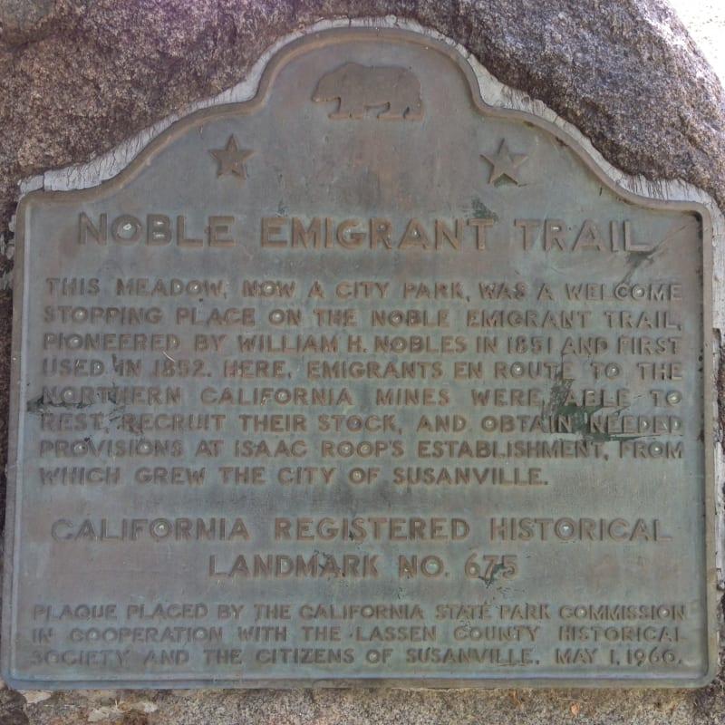 NO. 675 NOBLE EMIGRANT TRAIL, SUSANVILLE -State Plaque