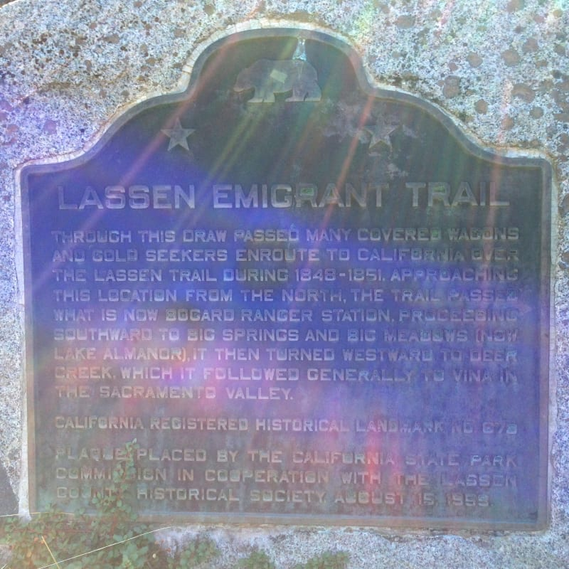 NO. 678 LASSEN EMIGRANT TRAIL - State Plaque