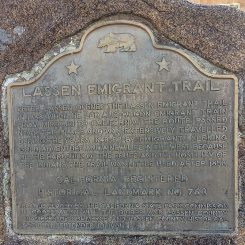 NO. 763 LASSEN EMIGRANT TRAIL, BIEBER - State Plaque