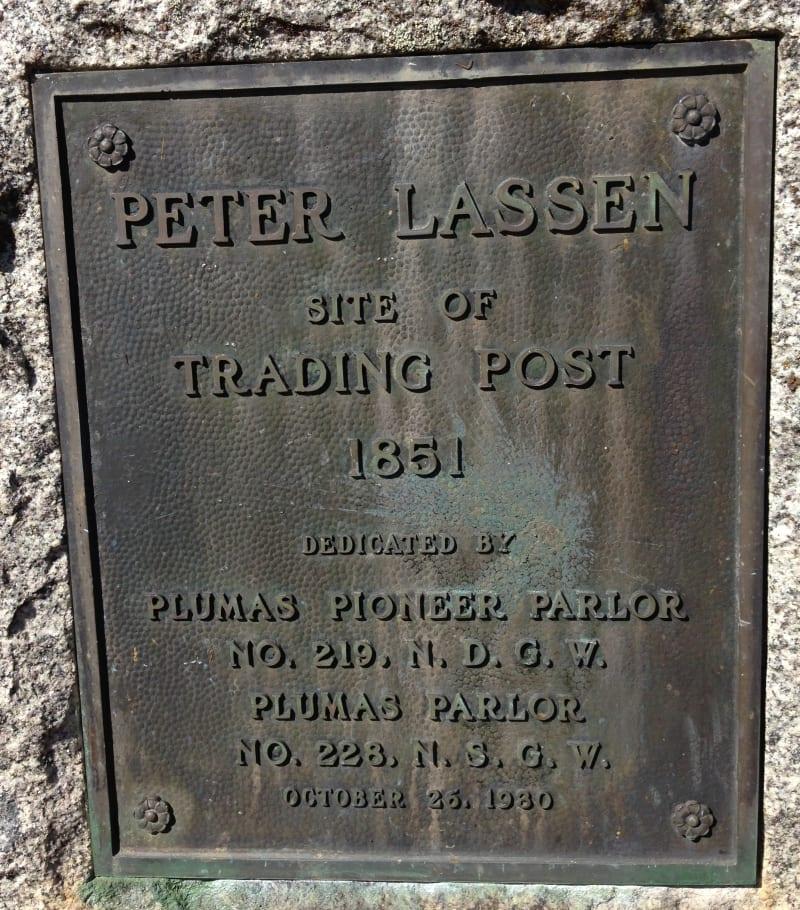 NO. 184 PETER LASSEN MARKER (SITE OF LASSEN TRADING POST) - Private Plaque