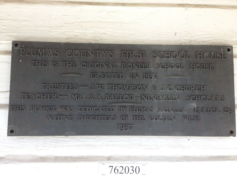NO. 625 PIONEER SCHOOLHOUSE - Private Plaque