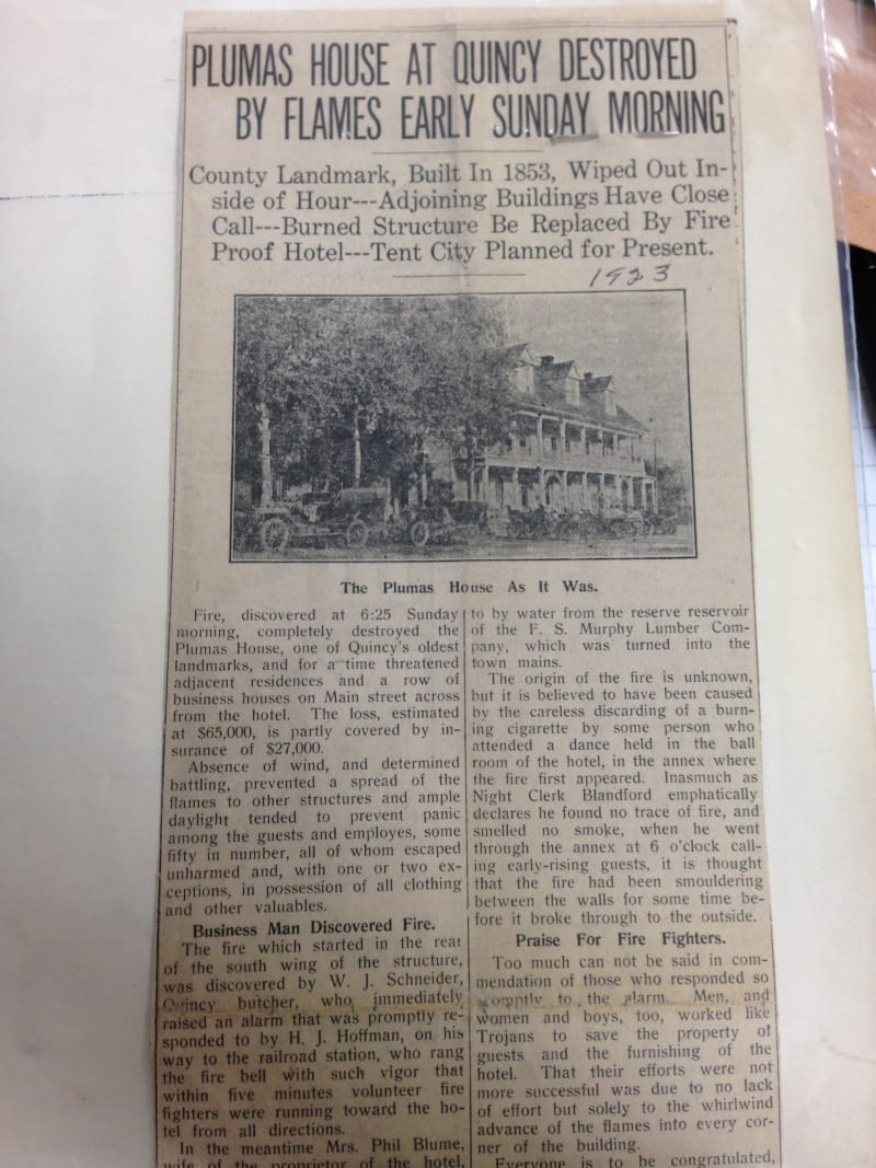 NO. 480 SITE OF PLUMAS HOUSE - Newspaper article regarding fire.
