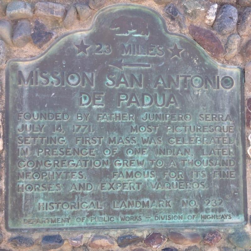 CHL No. 232 - Mission San Antonio de Padua - State Plaque