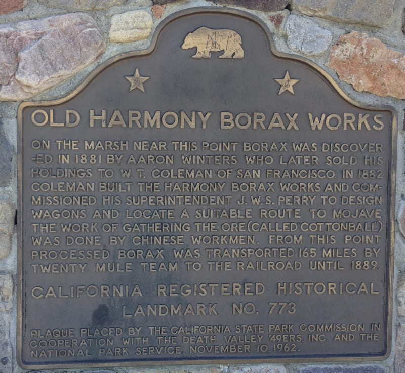 No. 773 OLD HARMONY BORAX WORKS - State Plaque