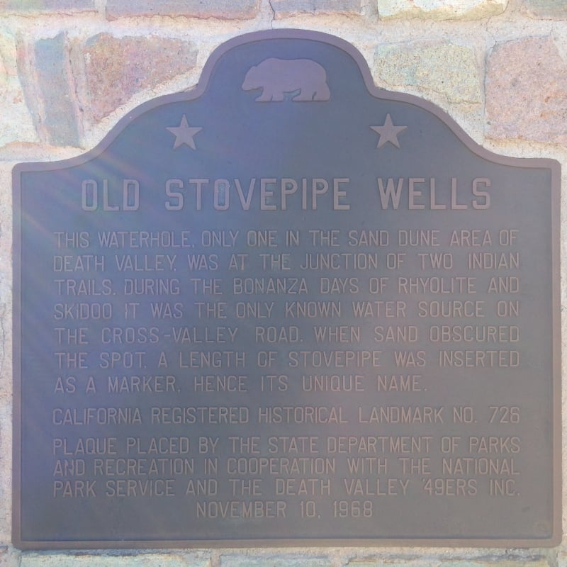 NO. 826 OLD STOVEPIPE WELLS - State Plaque