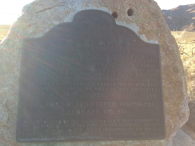 NO. 671 SITE OF THE TOWN OF GARLOCK - State Plaque