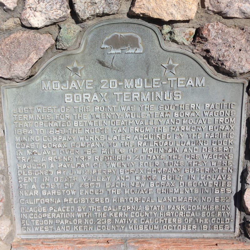 NO. 652 20-MULE-TEAM BORAX TERMINUS - State Plaque