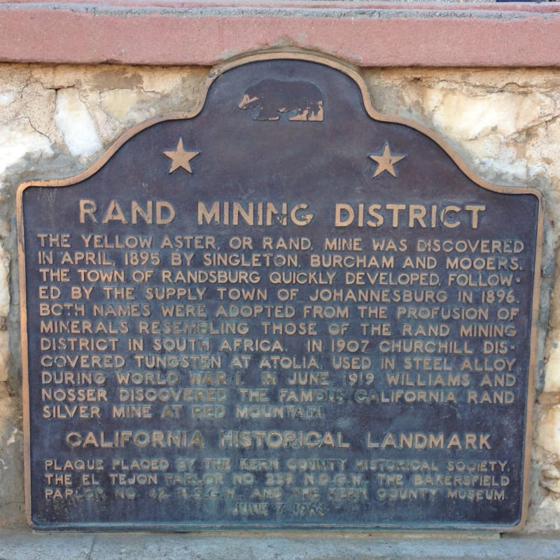 NO. 938 RAND MINING DISTRICT - State Plaque