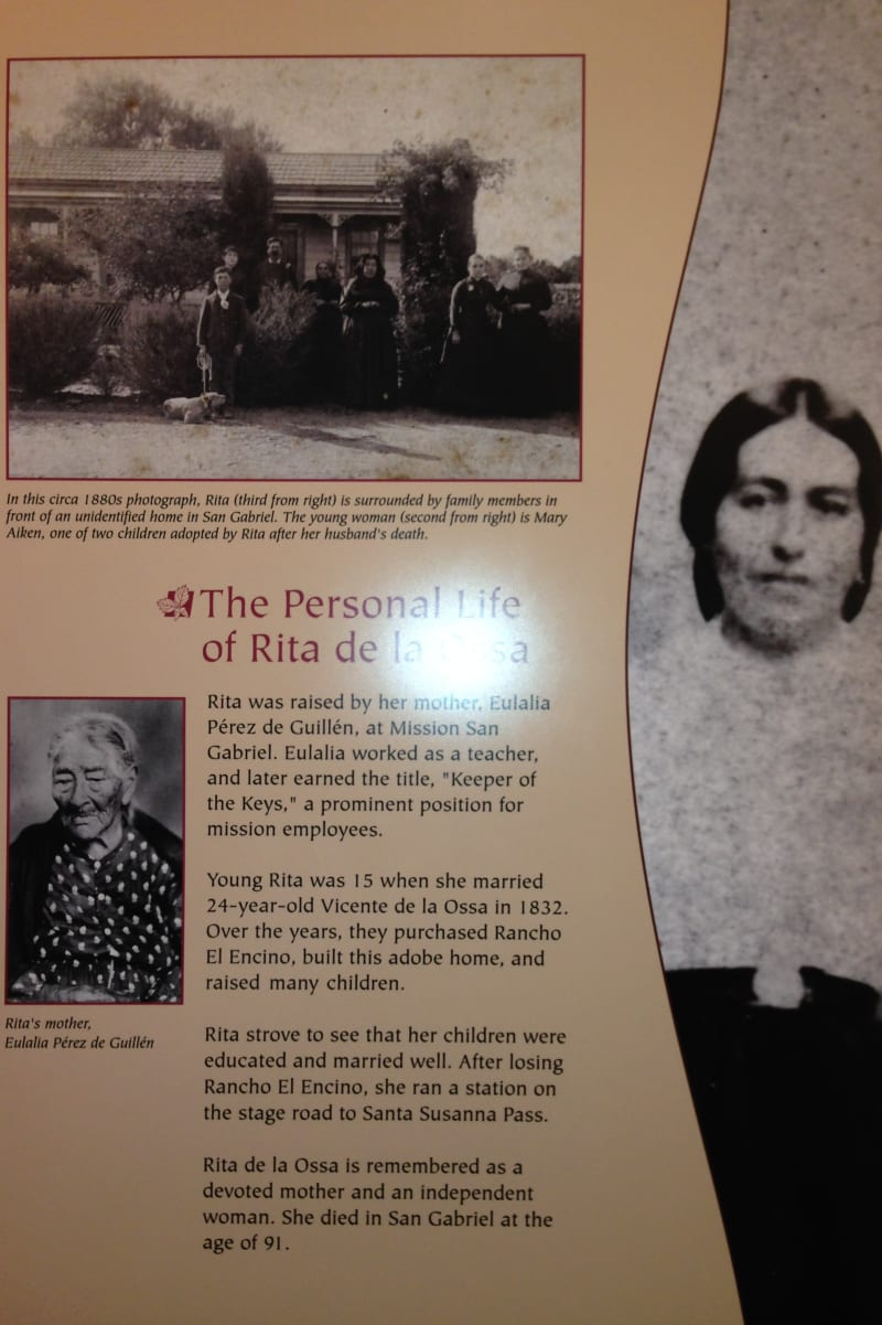 NO. 689 LOS ENCINOS STATE HISTORIC PARK - The Life of Rita de la Osa