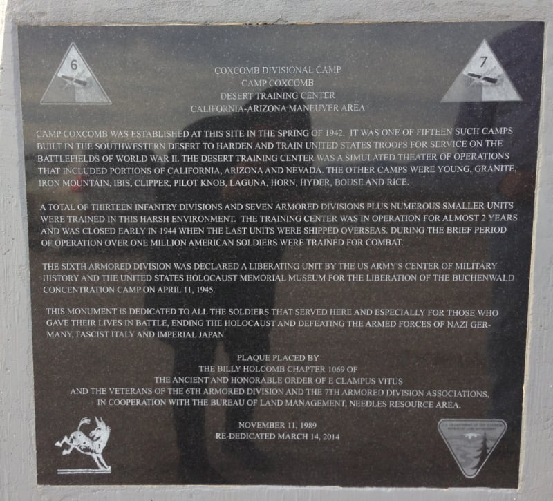 CHL No. 985.3 Camp Coxcomb - Plaque