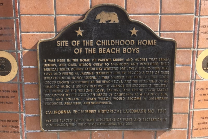 CHL No. 1041 Beach Boys Historic Landmark - State Plaque