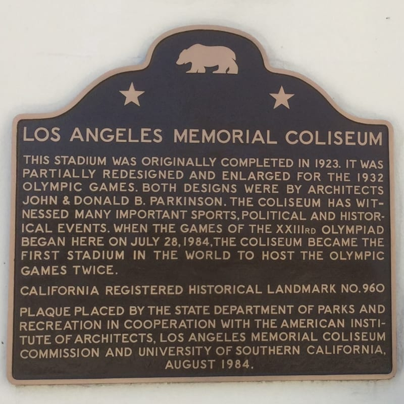 NO. 960 LOS ANGELES MEMORIAL COLISEUM - State Plaque