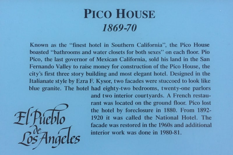 NO. 159 PICO HOUSE (HOTEL) - Plaque