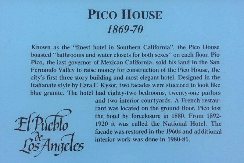 NO. 159 PICO HOUSE (HOTEL) - Plaque