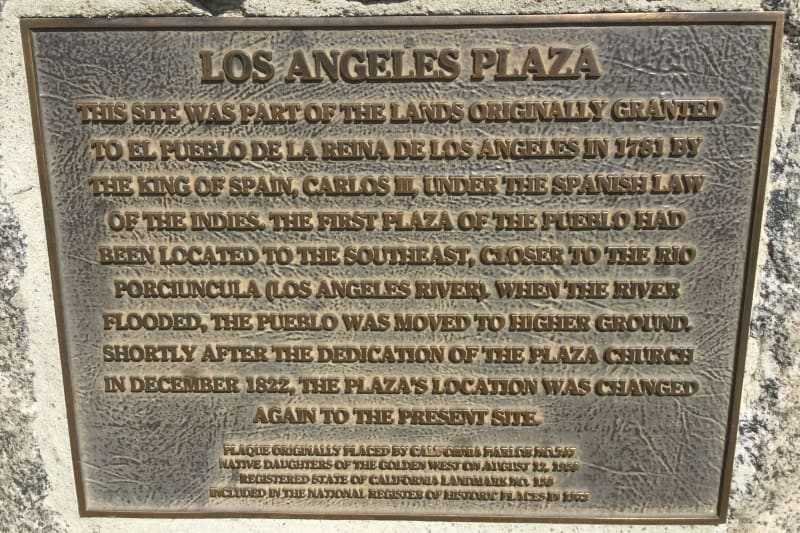 NO. 156 LOS ANGELES PLAZA - Plaque
